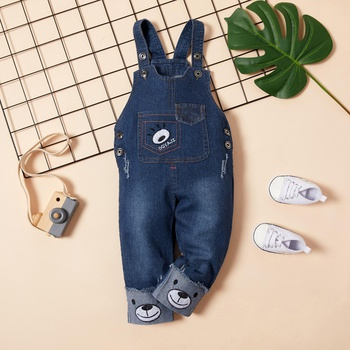 Baby Boy / Girl Adorable Bear Embroidery Denim Suspender Pants (No Shoes)