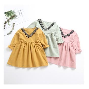 Trendy Boho Pompom Decor Long-sleeve Dress