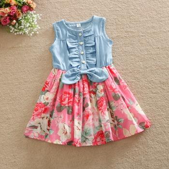 fa4004078d Baby  Toddler Girl s Denim Splice Floral Dress