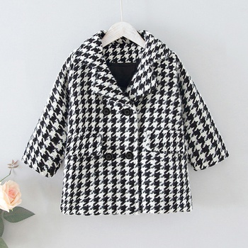 Baby / Toddler Elegant Houndstooth Polo collar Coat