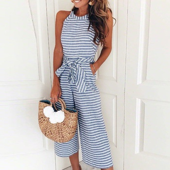 bfa71d43d11f Chic Striped Sleeveless Jumpsuit with Belt for Women