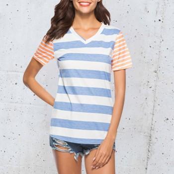 Pretty V Neck Striped Short-sleeve Tee