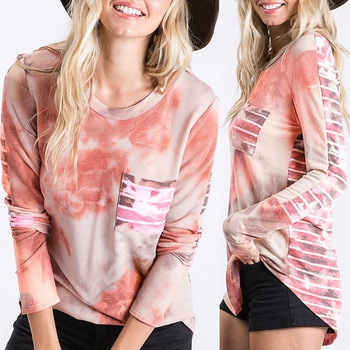 Round collar Positioning print long sleeve casual T-shirt