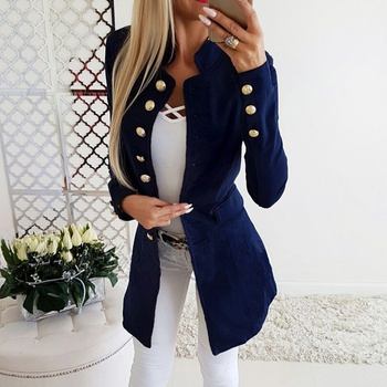 Sassy Solid Long-sleeve Trench