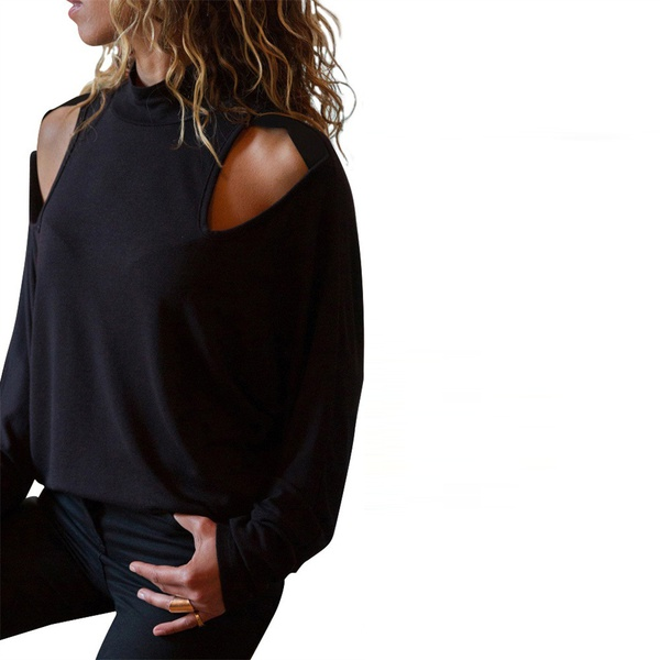 Casual Cutout Long-sleeve Tee