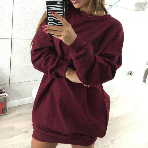 Fashionable Solid Long-sleeve Dress