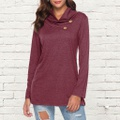 Chic Solid Button Long-sleeve Tee