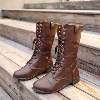 Fashionable Lace-up PU Boots
