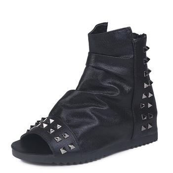 Trendy Rivet Decor Zip-up Sandals