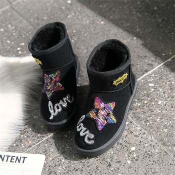Casual Star Letter Applique Snow Boots