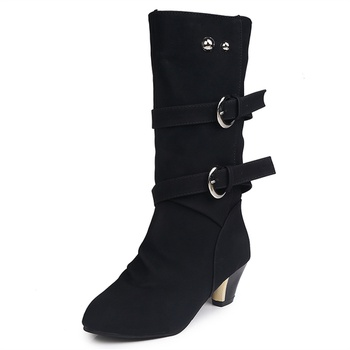 Trendy Buckle Decor Solid Boots