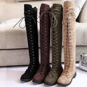 Retro Lace-up Flock Long Boots