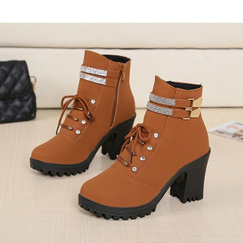 Pretty Rhinestone Stud Buckle Decor Boots