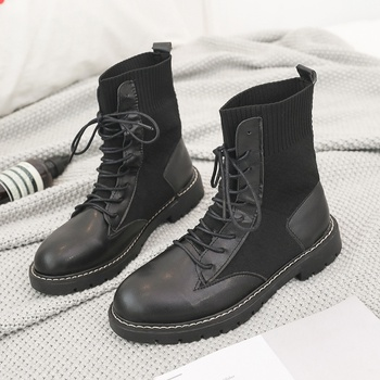 Trendy Splice Plush Lace-up Boots