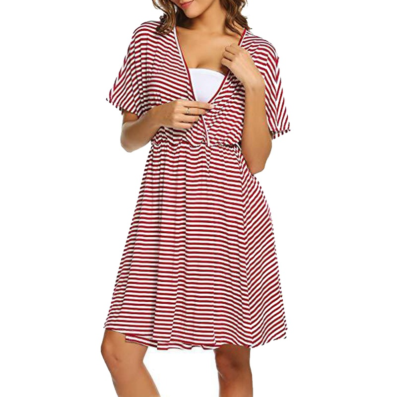 9c0473787e Trendy Striped Short-sleeve Maternity Nursing Dress