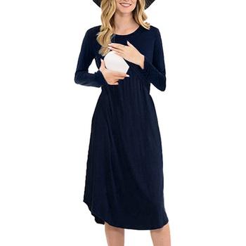 Elegant Solid Long-sleeve Nursing Dress