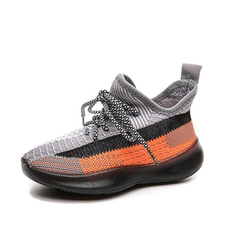 Toddler / Kids Breathable Knitted Striped Lace-up Sneakers
