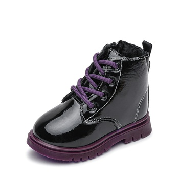 Toddler / Kid Girl Lace-up Glossy Trendy Boots