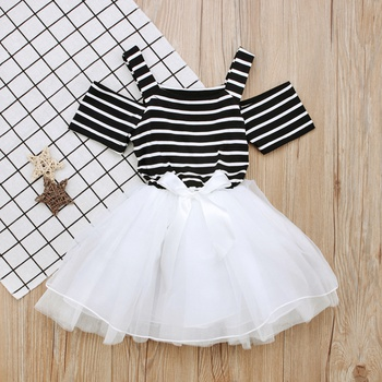 Lovely Striped Cold Shoulder Strap Bow Decor Tulle Dress