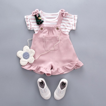 be45c470c0ee 2-piece Cute Striped Top and Ruffle-cuffs Overalls for Baby Girl