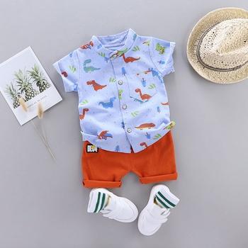 Dinosaur Print Short-sleeve Shirt and Pants Set