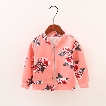 Beautiful Allover Floral Long-sleeve Coat for Toddler and Girl in Pink