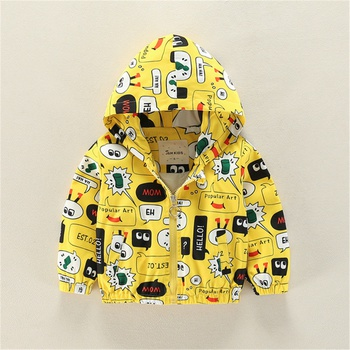 Trendy Allover Cartoon Letter Hooded Windproof Long-sleeve Coat
