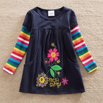 Stylish Embroidered Flower Pocket Design Colorful Sleeve Dress