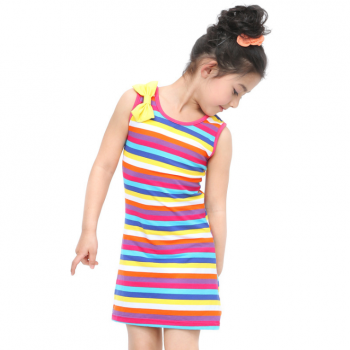 Pretty Bow Knot Decor Rainbow Striped Sleeveless Top for Baby and Toddler