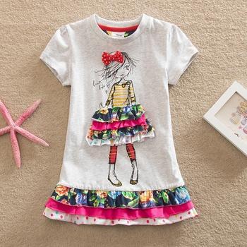 Stylish Bow Decor Girl Pattern 3D Tiered Skirt Short-sleeve Dress