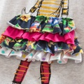 Stylish Bow Decor Girl Pattern 3D Tiered Skirt Short-sleeve Dress