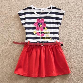 Pretty Flower Pattern Stripe Splice Belted Short-sleeve Dress