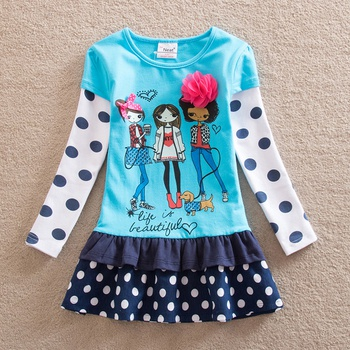 Lovely Polka Dots Girl Pattern 3D Flower and Bow Decor Dress