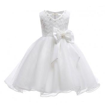 ba6e8d002ea Chic V-neck Bow-accent Sleeveless Wedding Dress in White for Girls