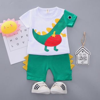 e8ccd7fb1e00 2019 New Style Baby   Toddler Lovely Applique Dinosaur Tee and 3D Tail Shorts  Set
