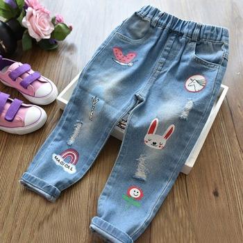 Baby / Toddler Girl Adorable Cartoon Decor Jeans