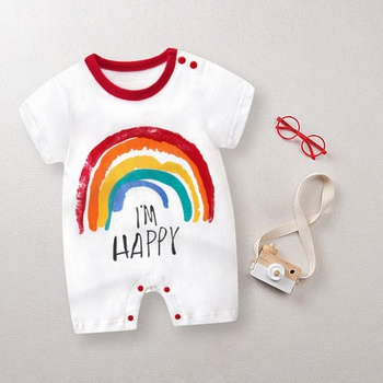 Baby I'M HAPPY Letter Print Rainbow Bodysuits