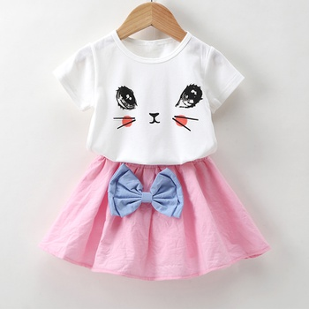 b0c69cabbb8 Cute Cat Print Short-sleeve T-shirt and Bow Decor Skirt Set for Toddler Girl  and Girl