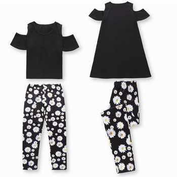 Stylish Solid Cold Shoulder Top and Pants Matching Set for Mom and Me
