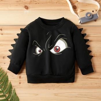 Baby / Toddler Boy Cool Cartoon Eye Print Solid Dino Decor Pullover