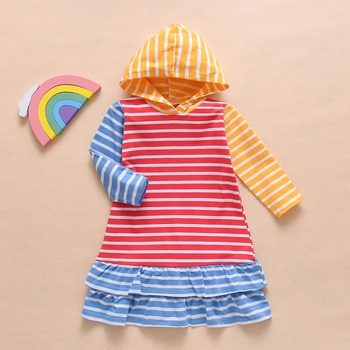 Colorblock Striped Hooded Dress
