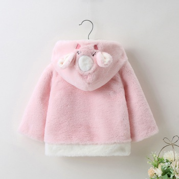 1pc Baby Girl Long-sleeve cotton Hooded  casual Animal Coat & Jacket