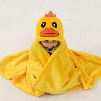 Cute Duck Modeling 3D Decor Plush Hooded Blanket
