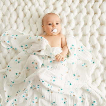 Breathable Star Print Muslin Baby Blanket