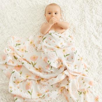 Comfy Floral Print Cotton Swaddle Blanket