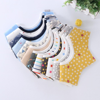 1-piece Colorful Babe Cartoon Print Rotatable Cotton Bibs