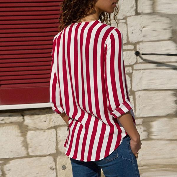 Stylish Stripe Long-sleeve Blouse