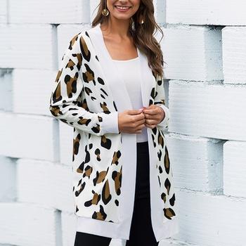 casual Leopard long Coats