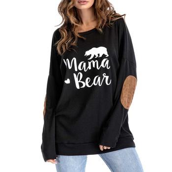 Round collar Animal Litooffset print long sleeve casual T-shirt