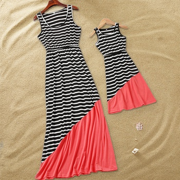 a32af1f34f43 Stylish Striped Color-blocking Sleeveless Mommy and Me Maxi Dress